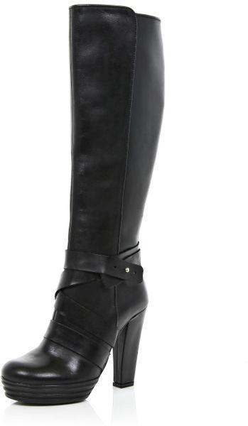 river island black cross block heel knee high boots