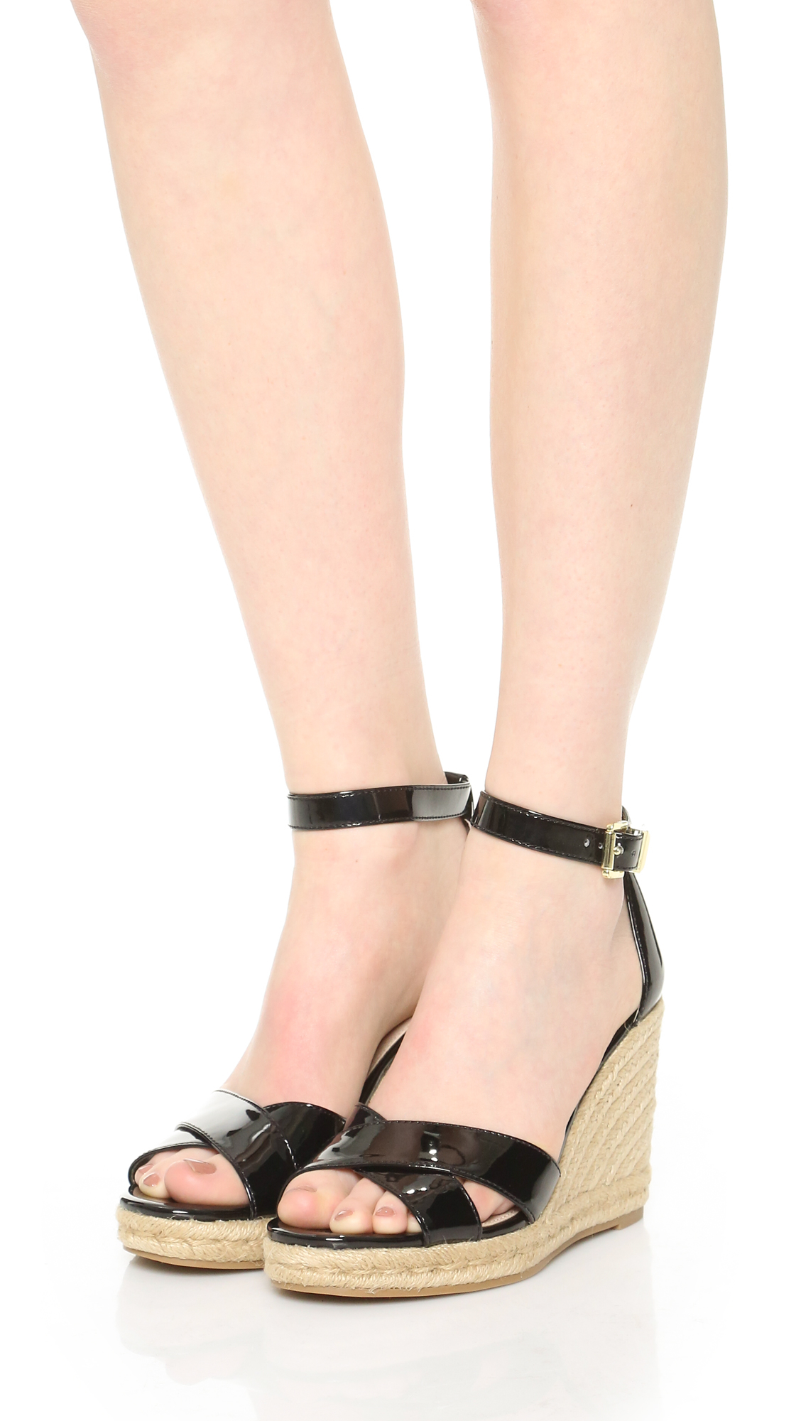 sam edelman brenda espadrille wedge sandals in black lyst