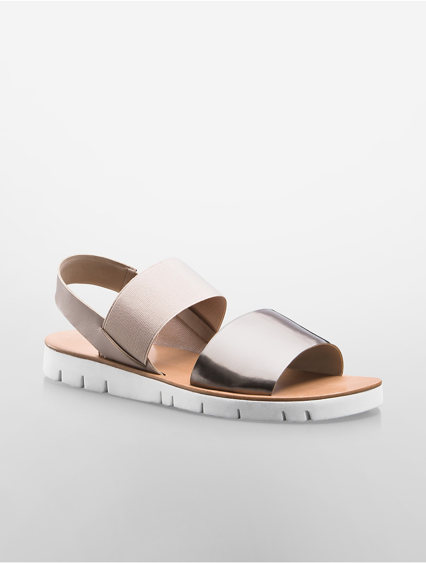 823fe724578 Lyst - Calvin Klein White Label Prisma Colorblock Metallic Flat ...
