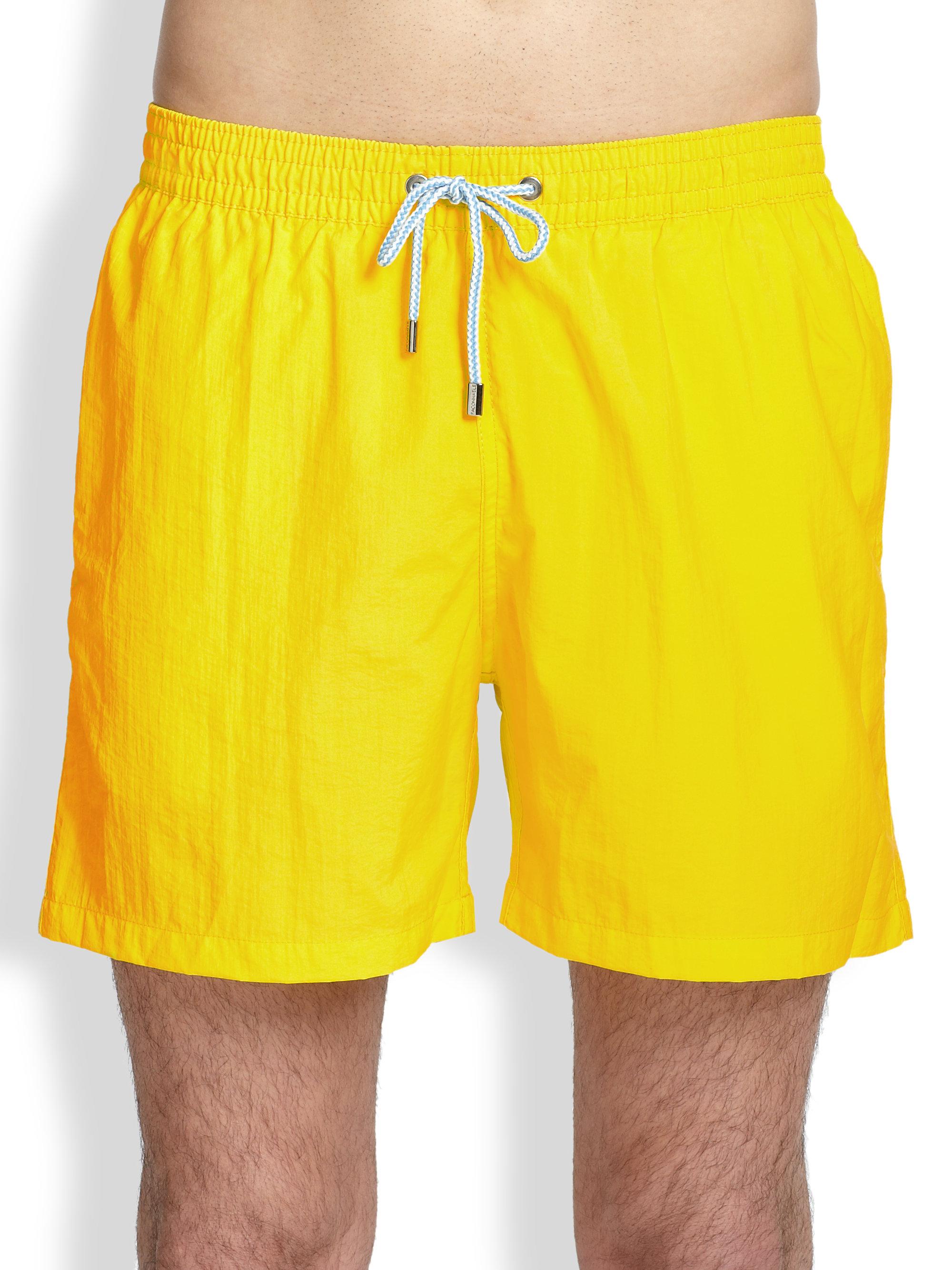 5bd6035c2d90a Façonnable Nylon Swim Trunks in Yellow for Men - Lyst