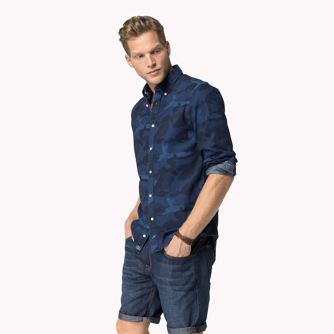 81649f6b019a9 Tommy Hilfiger Camouflage Chambray Shirt in Blue for Men - Lyst
