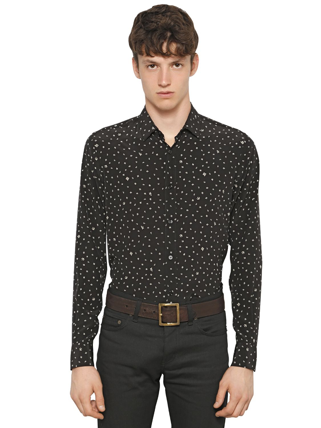 saint laurent black white polka dot shirt in black for
