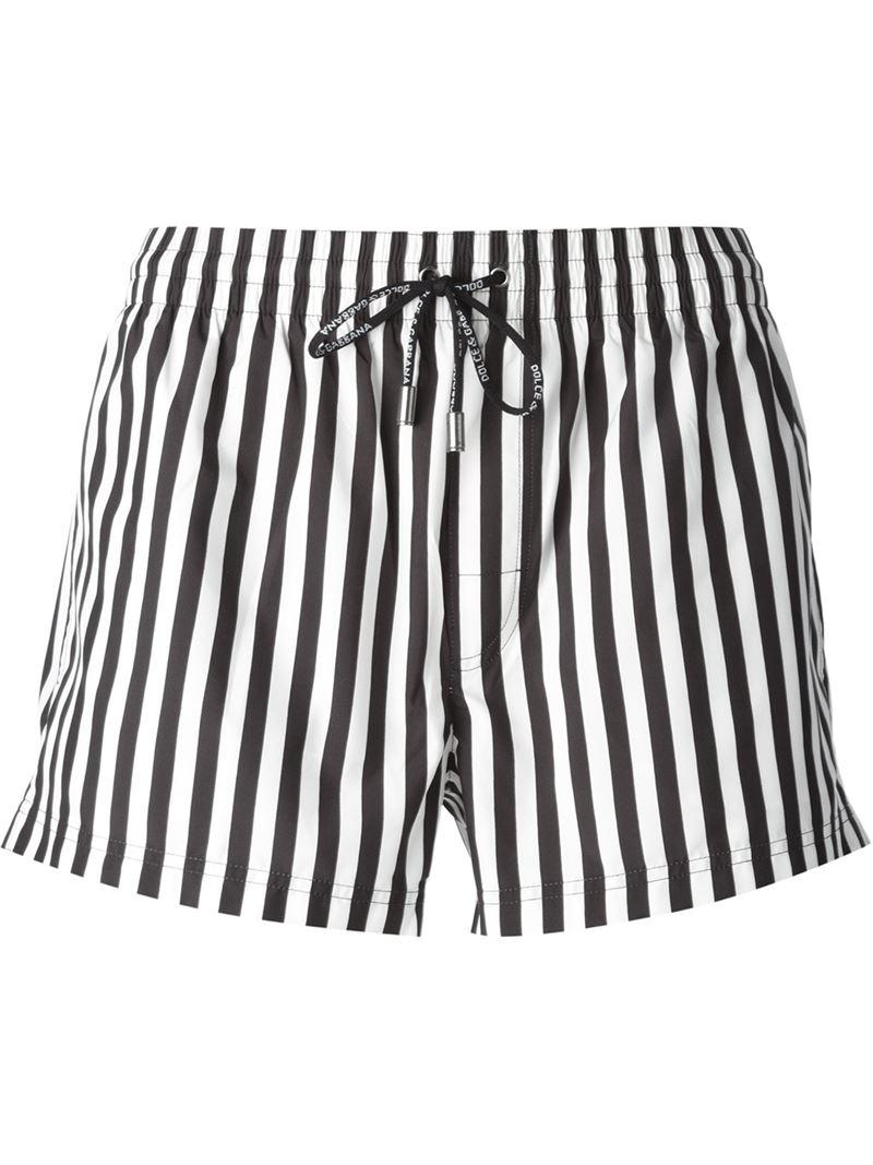 b0df3b0bf6 Dolce & Gabbana Striped Swim Shorts in Black for Men - Lyst