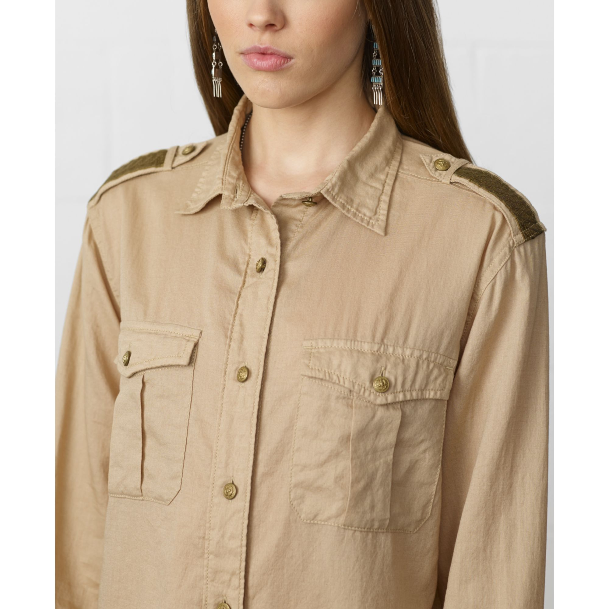 denim supply ralph lauren longsleeve military shirt in natural lyst. Black Bedroom Furniture Sets. Home Design Ideas