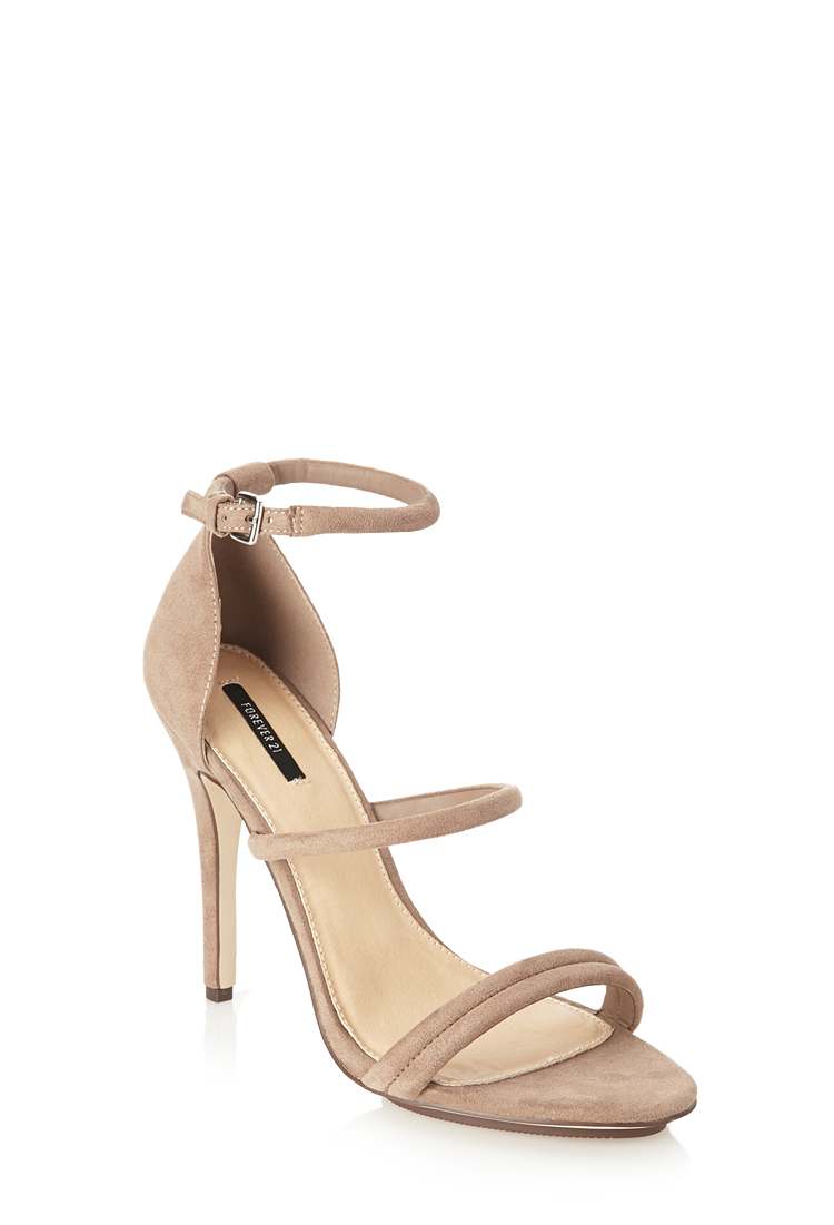 Forever 21 Faux Suede Strappy Sandals in Natural | Lyst