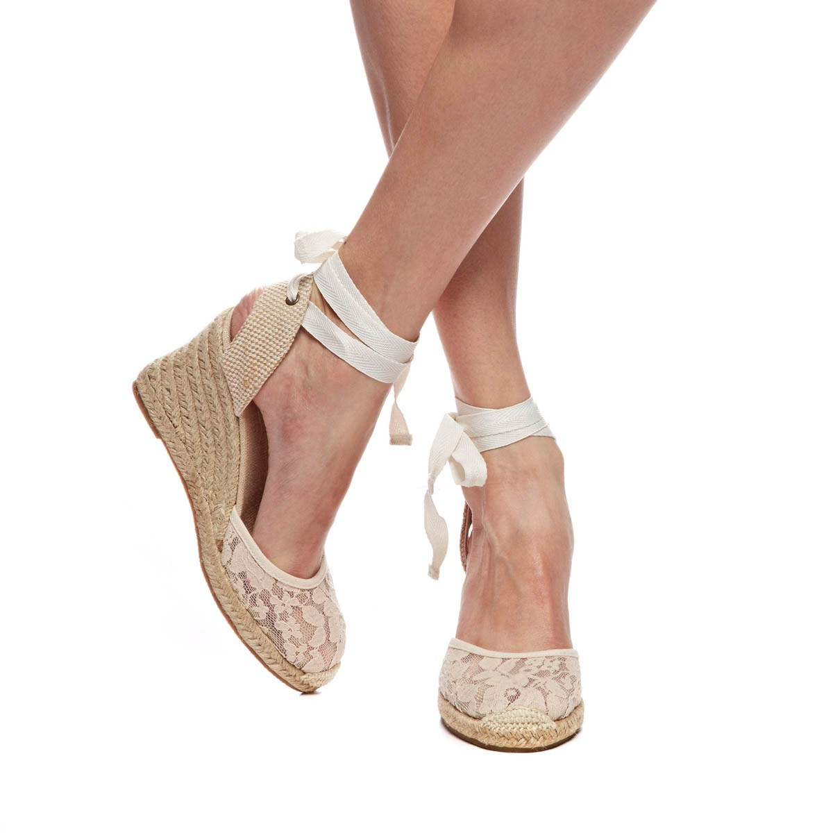Lyst Soludos Chantilly Lace Tall Wedge In Natural