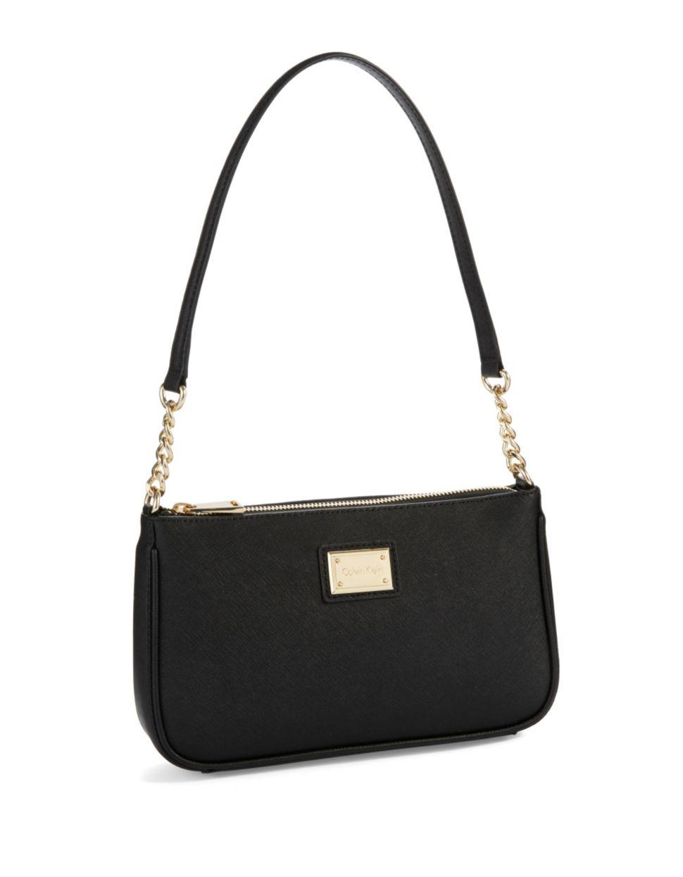 9cc2efc15e0 Calvin Klein Crosshatched Leather Shoulder Bag in Black - Lyst