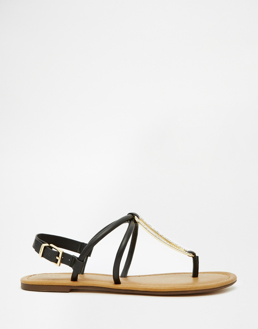 Lyst - ALDO Toepost Flat Sandals - Black in Black