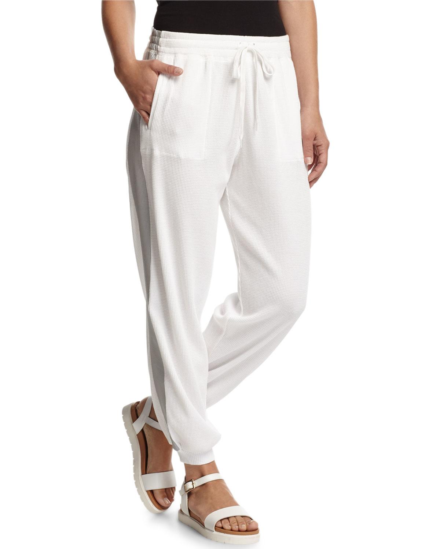 Norma kamali Thermal-knit Capri Sweatpants in White | Lyst