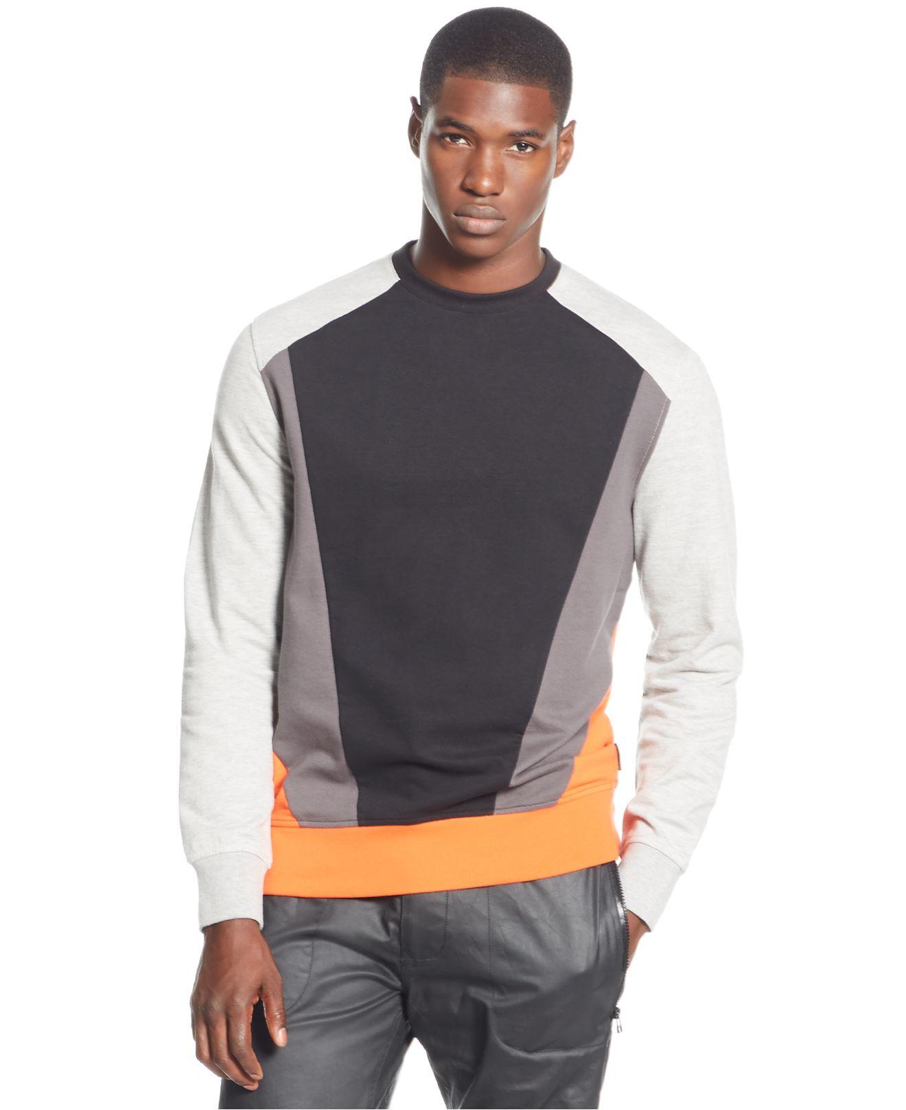 Calvin klein calvin klein long sleeve top in gray for men for Sean john t shirts for mens