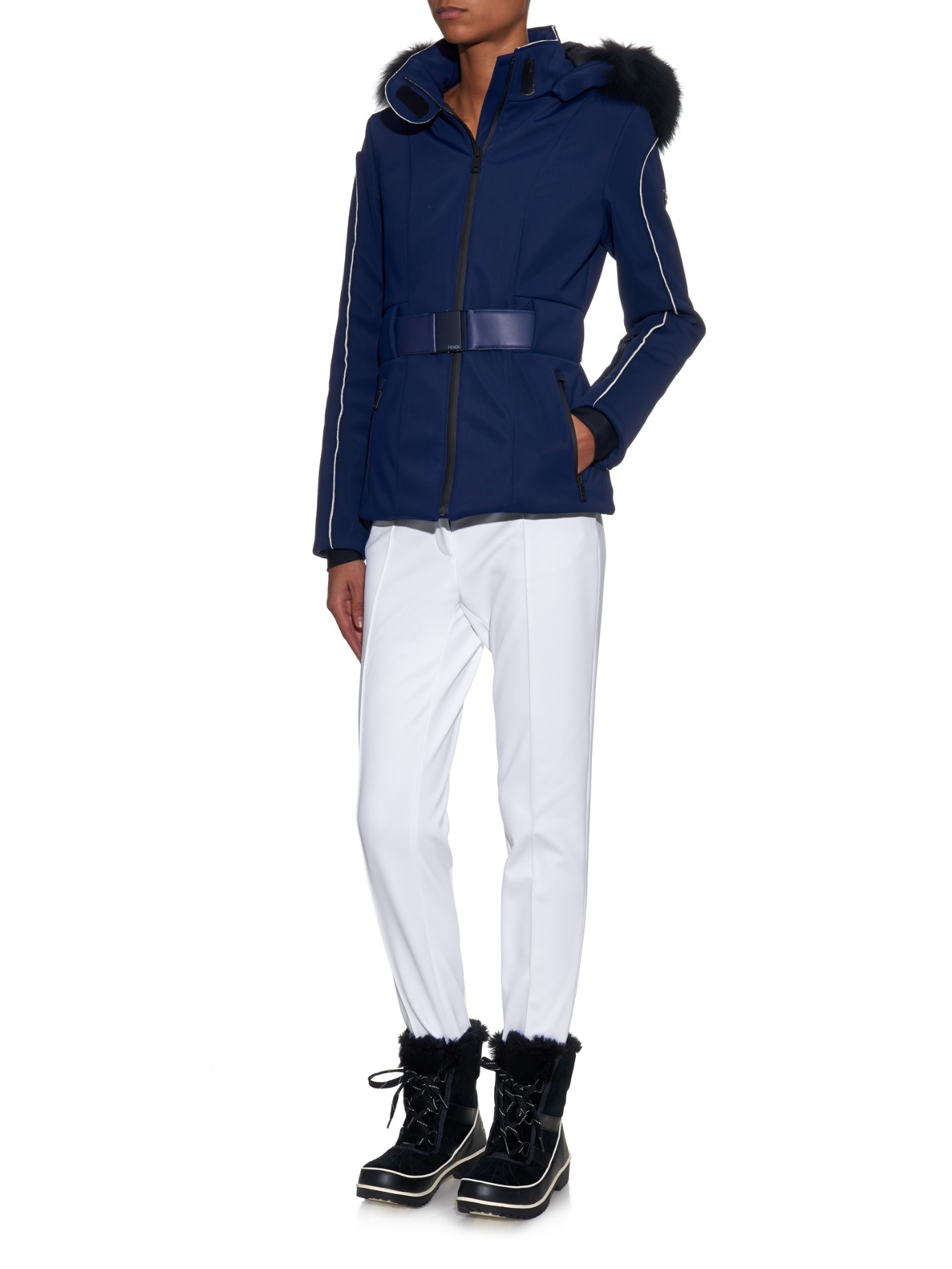 Lyst - Fendi Fox-Fur-Trimmed Hooded Ski Jacket in Blue f308f3856