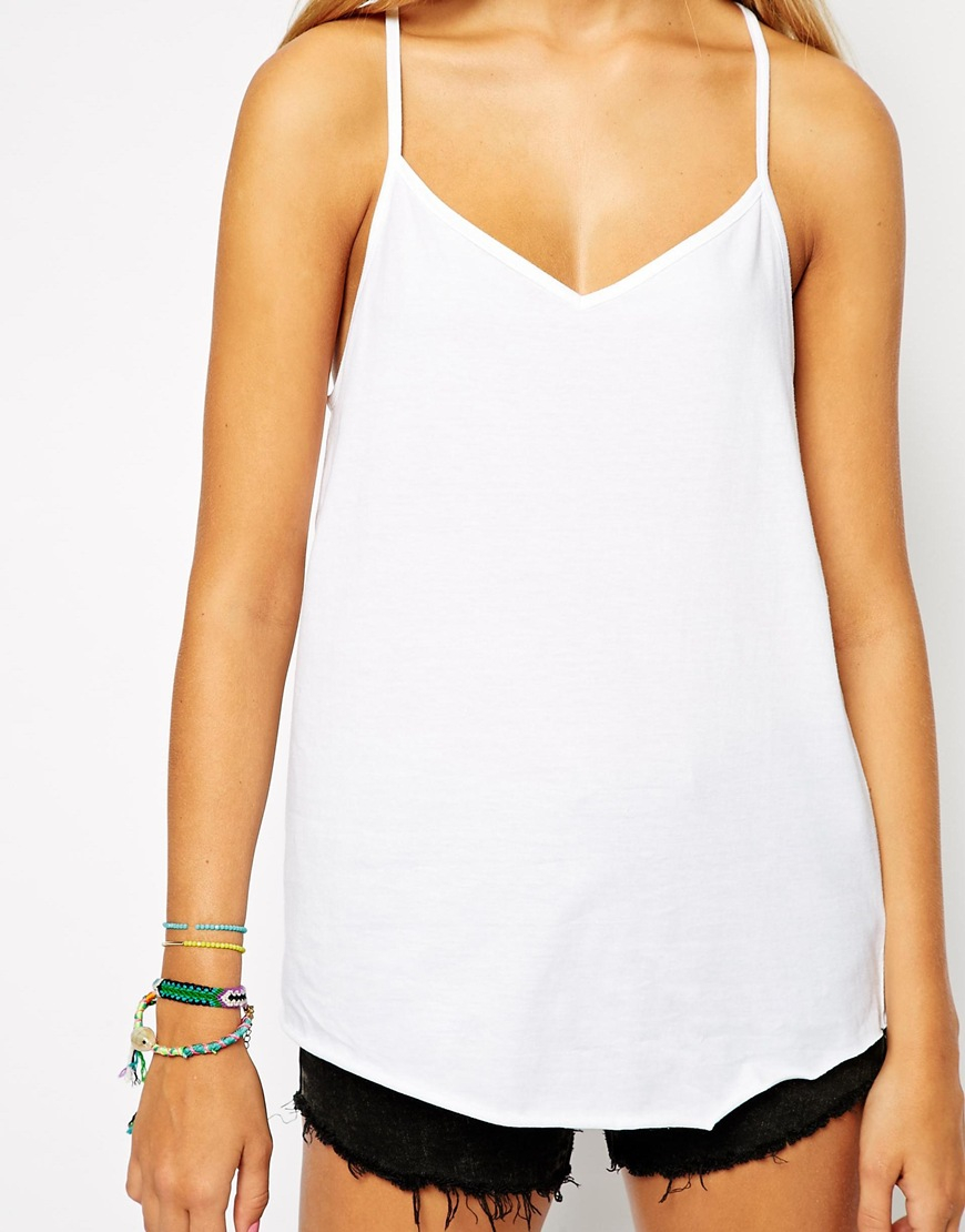 ee3ac3e073 ASOS Longline V Neck Cami Top 2 Pack in White - Lyst