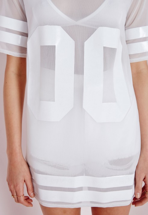 Missguided Mesh American Football T Shirt White in White - Lyst eb7a36585