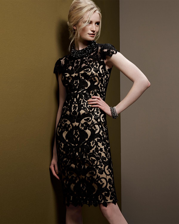 010b8f5501a Lyst Tadashi Shoji Cap Sleeve Embroidered Sheath Dress In Black