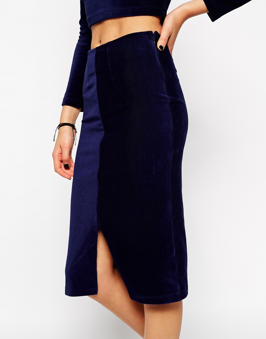 Asos Co-ord Velvet Pencil Skirt in Blue | Lyst