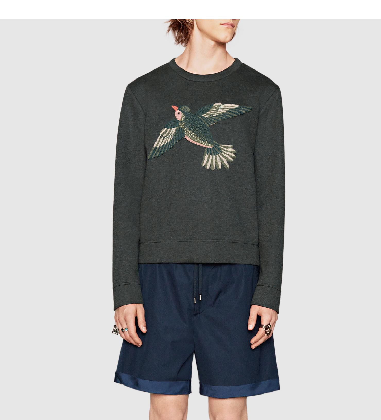 Gucci Viscose Jersey Sweatshirt With Bird Appliqué in Gray ...