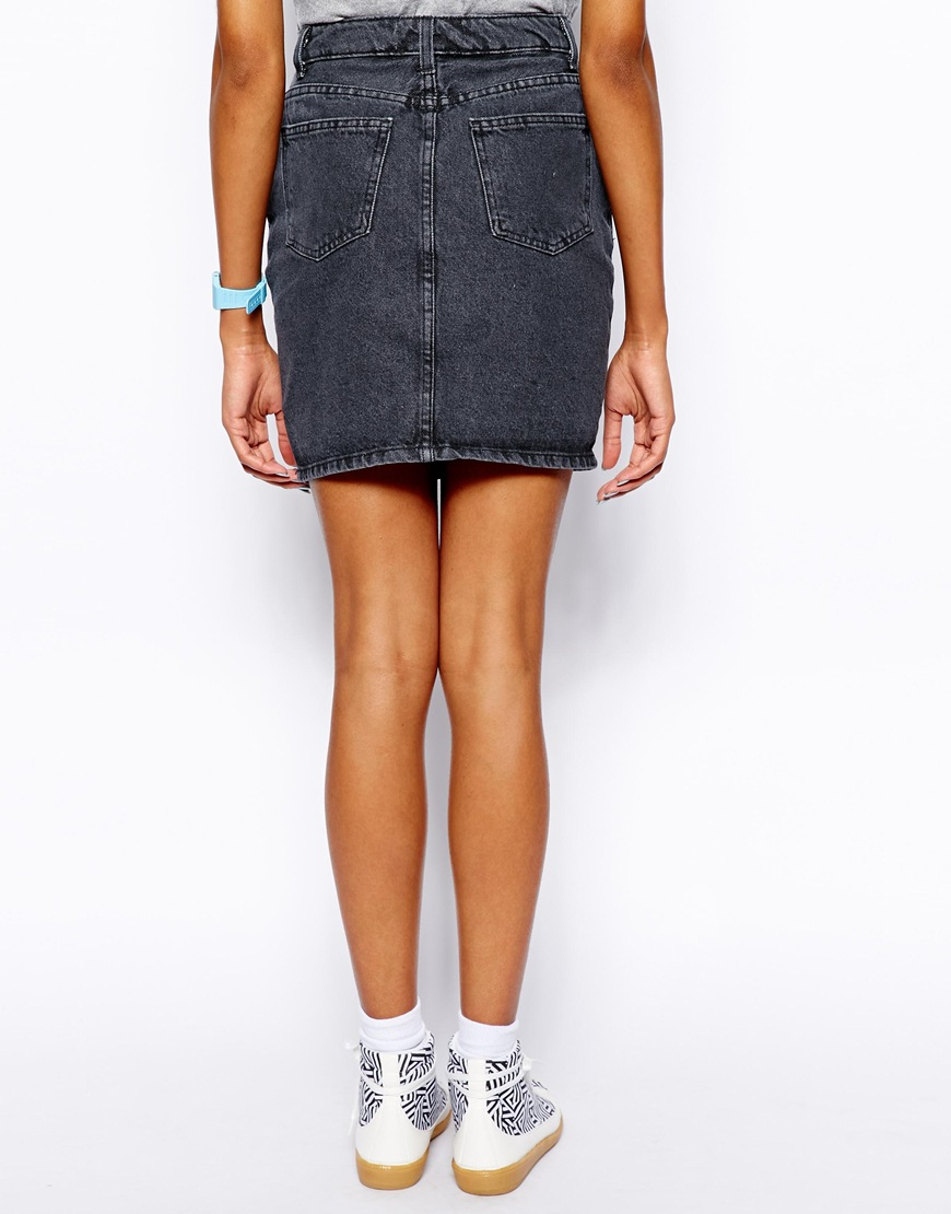 Black High Waisted Denim Skirt | Jill Dress