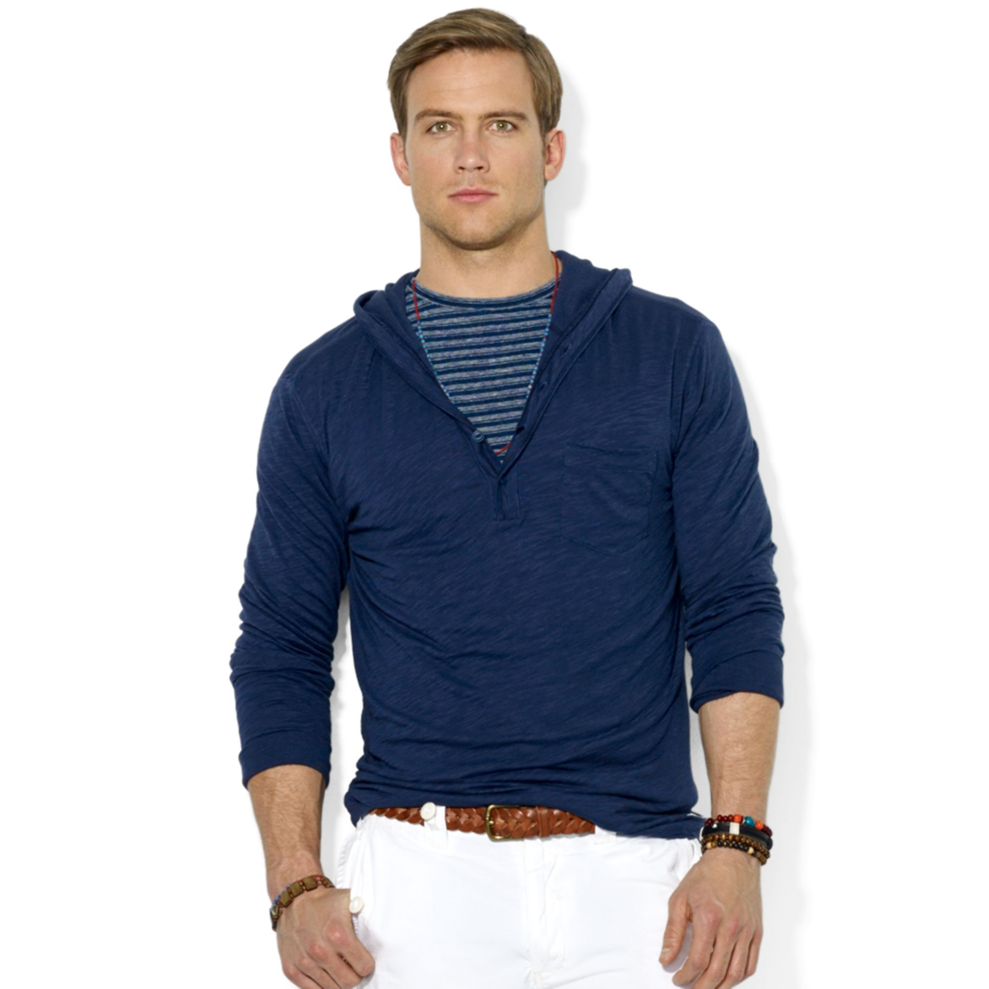 polo ralph lauren polo slub jersey pullover hoodie in blue. Black Bedroom Furniture Sets. Home Design Ideas