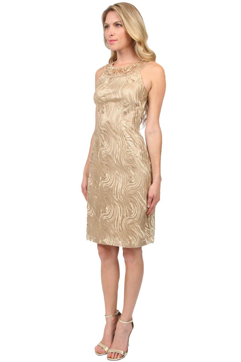 sue wong beaded halter dress in gold light gold lyst