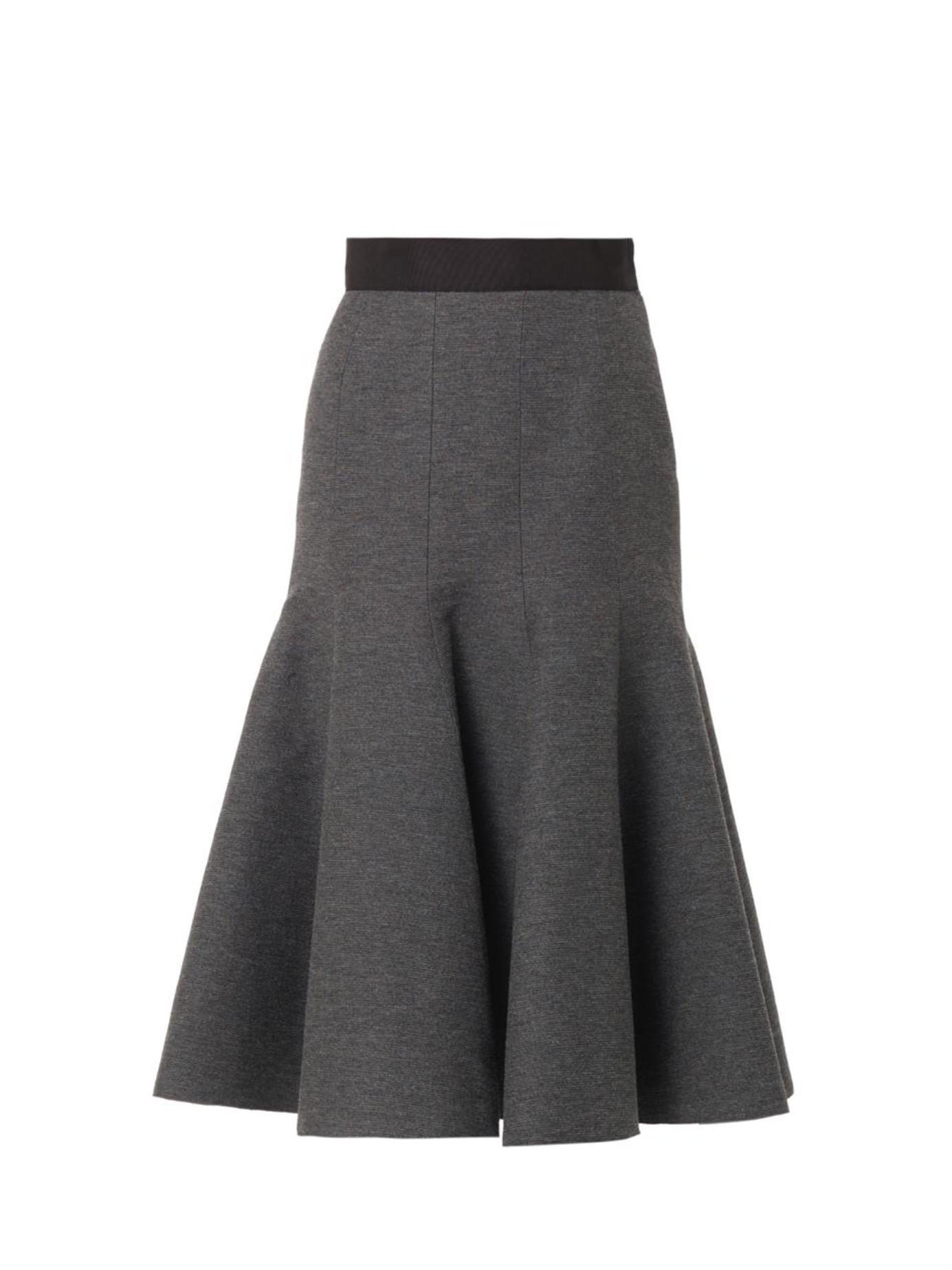lanvin ribbed wool blend midi skirt in gray lyst