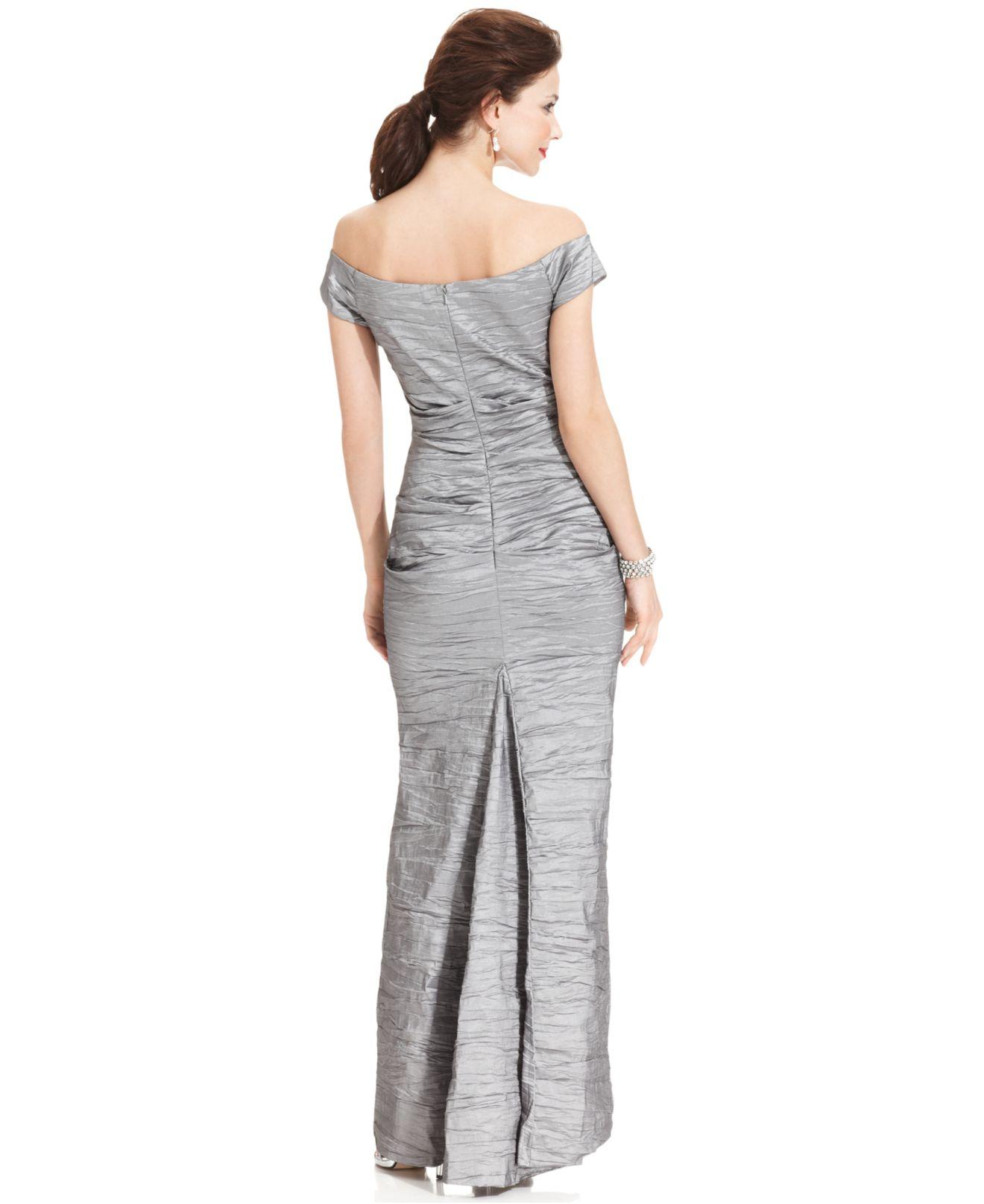Lyst - Alex Evenings Off-the-shoulder Taffeta Evening Gown in Metallic