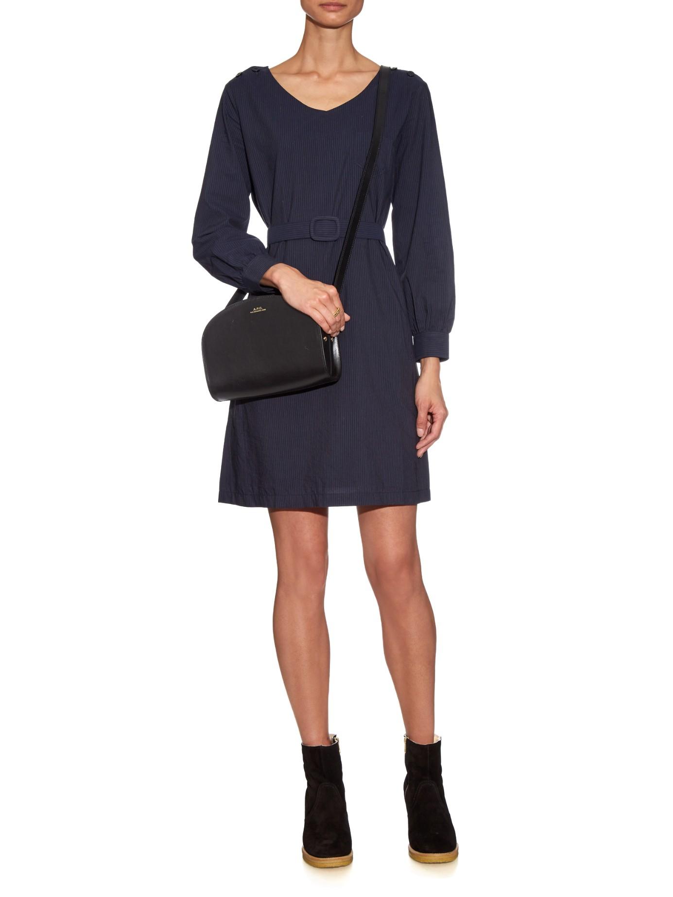 lyst a p c robe masha cotton dress in blue. Black Bedroom Furniture Sets. Home Design Ideas