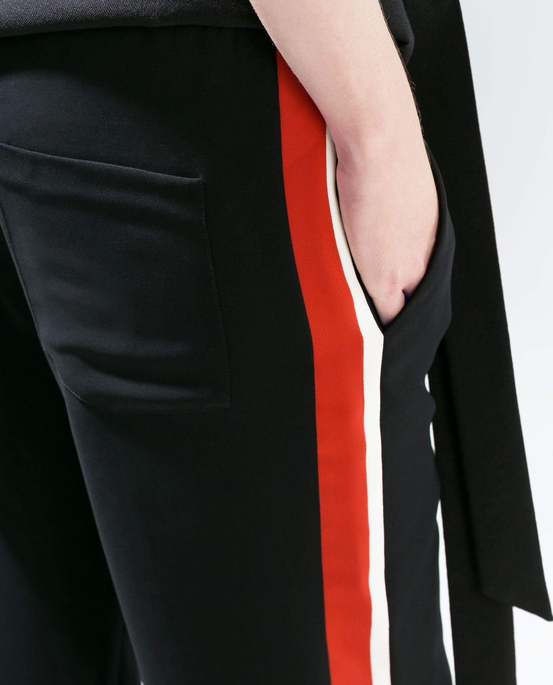 Zara Pajama Style Trousers With Side Stripes In Black Lyst