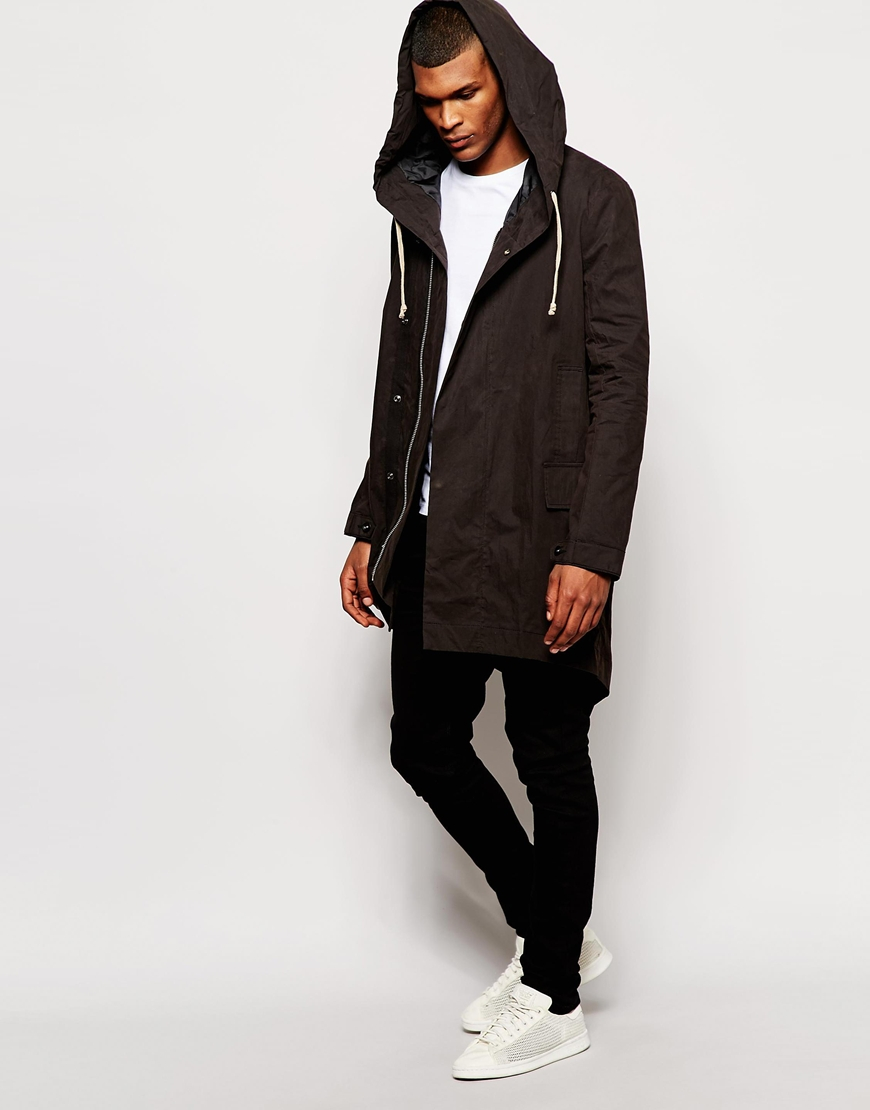 Asos Fishtail Parka Jacket In Black in Black for Men | Lyst