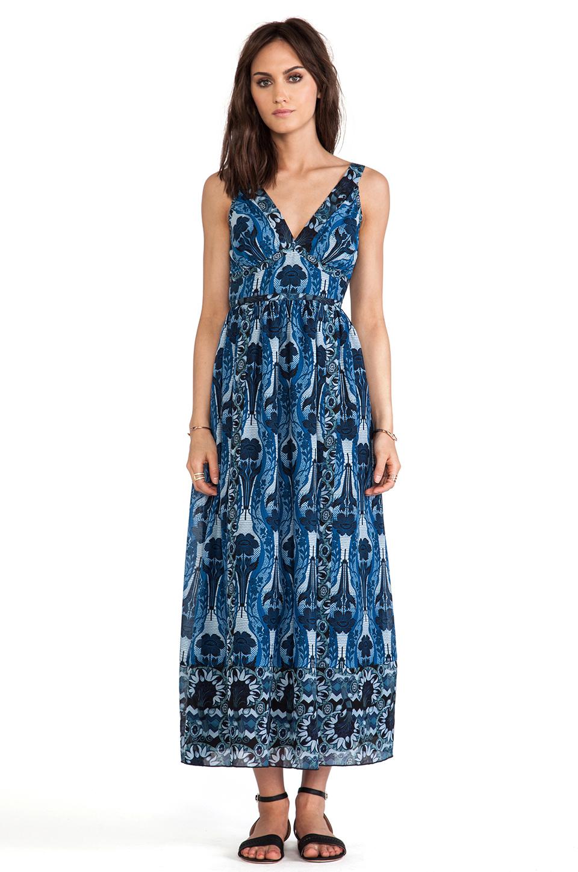 Anna Sui Printed Silk Blend Maxi Dress In Blue Lyst