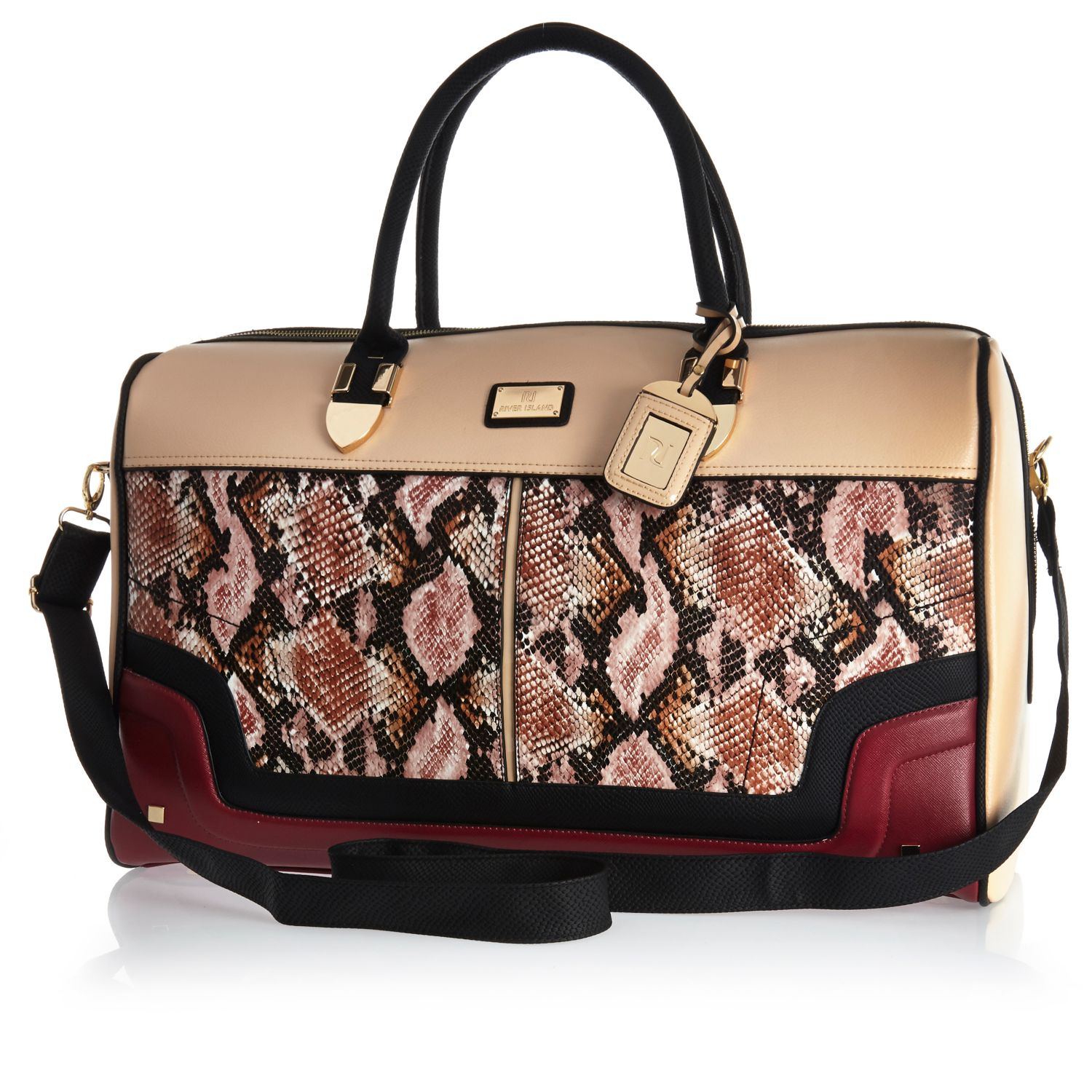 River island Red Snake Print Weekend Bag in Red | Lyst