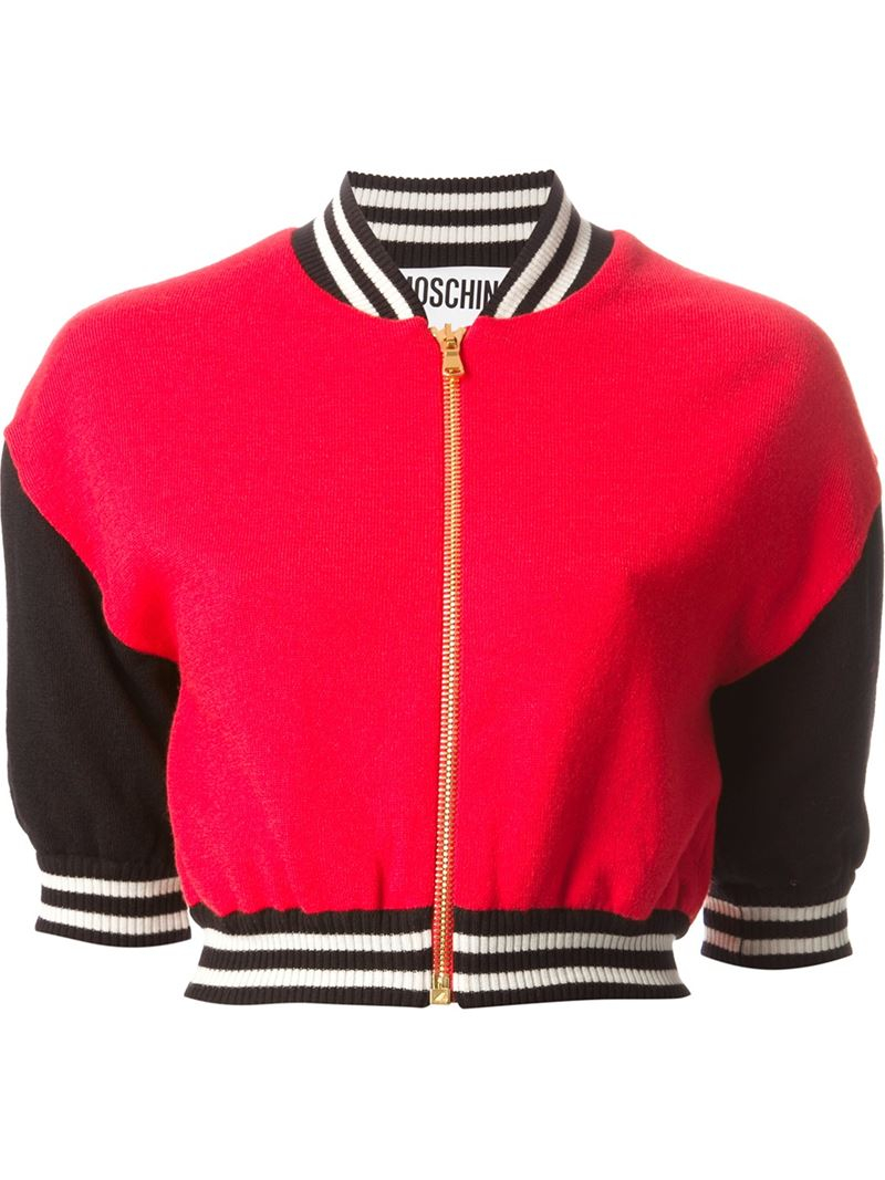 9132289dfc2 Moschino Cropped Bomber Jacket in Red - Lyst