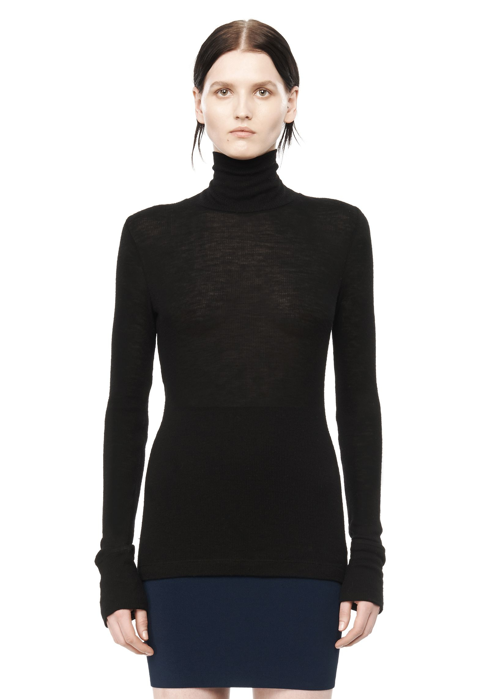 d553a2a4133 T by alexander wang Ribbed Long Sleeve Turtleneck in Black