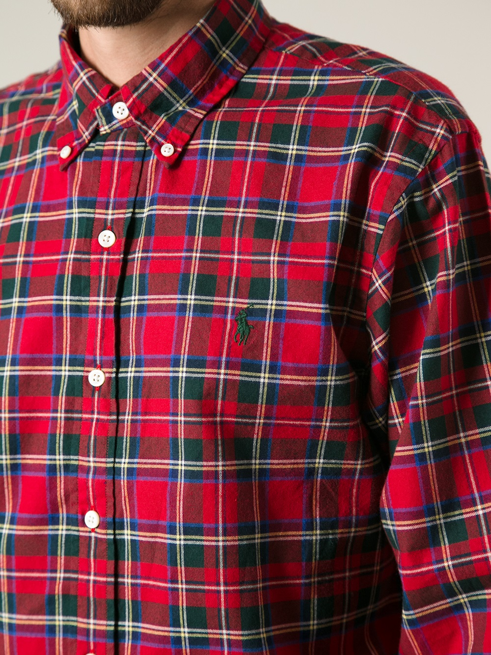 8bfb3b87c8 ... good lyst polo ralph lauren plaid button down shirt in red for men  32923 a6d59