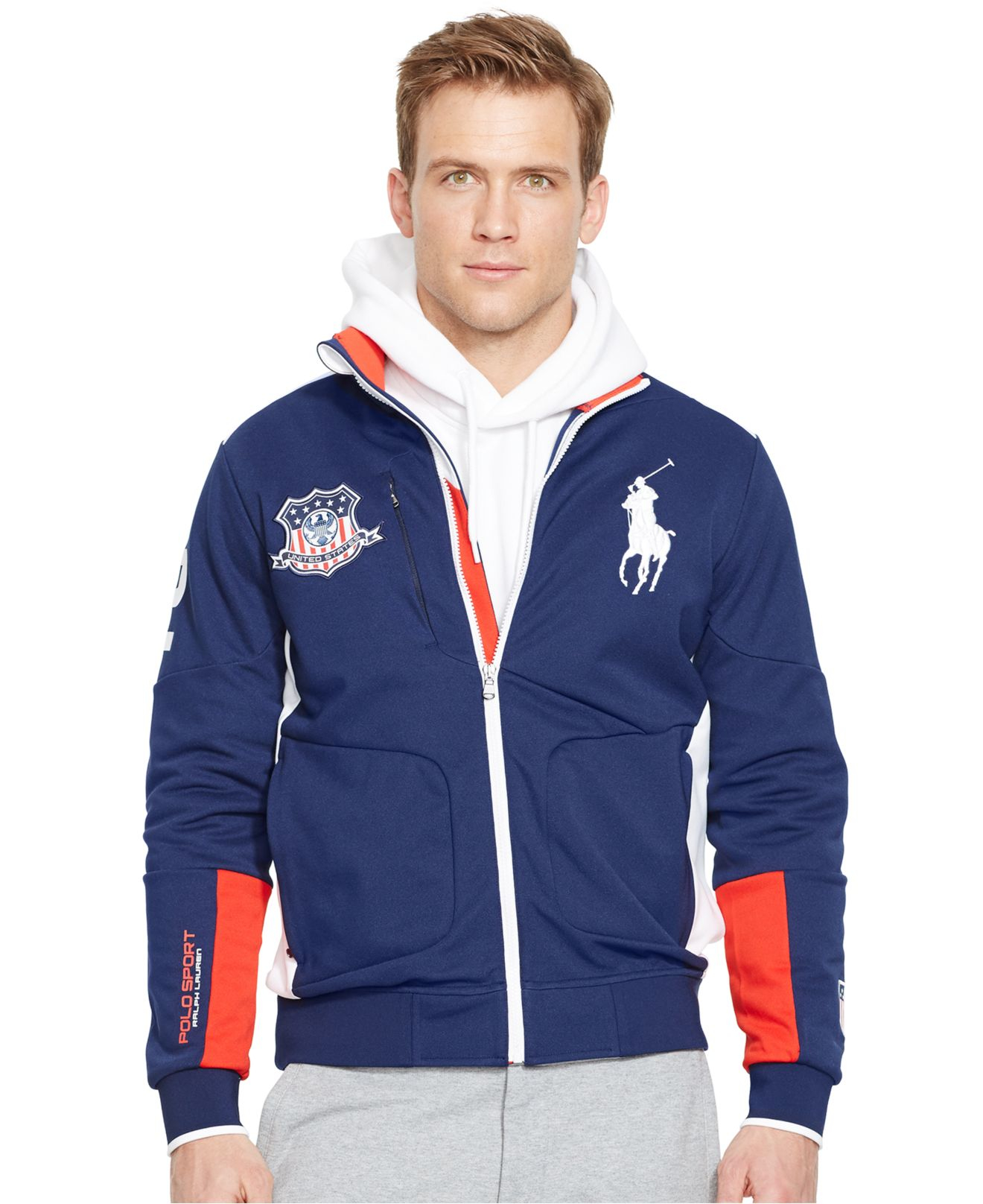 polo ralph lauren polo sport usa full zip track jacket in. Black Bedroom Furniture Sets. Home Design Ideas