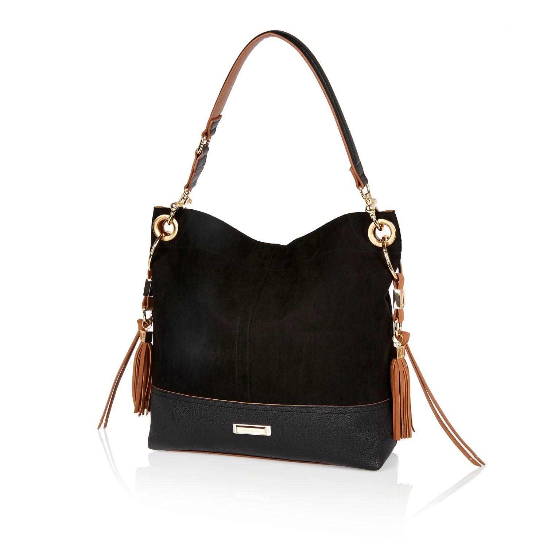 River Island Black Tassel Side Slouchy Handbag in Black - Lyst a3fbed4bf0fb5