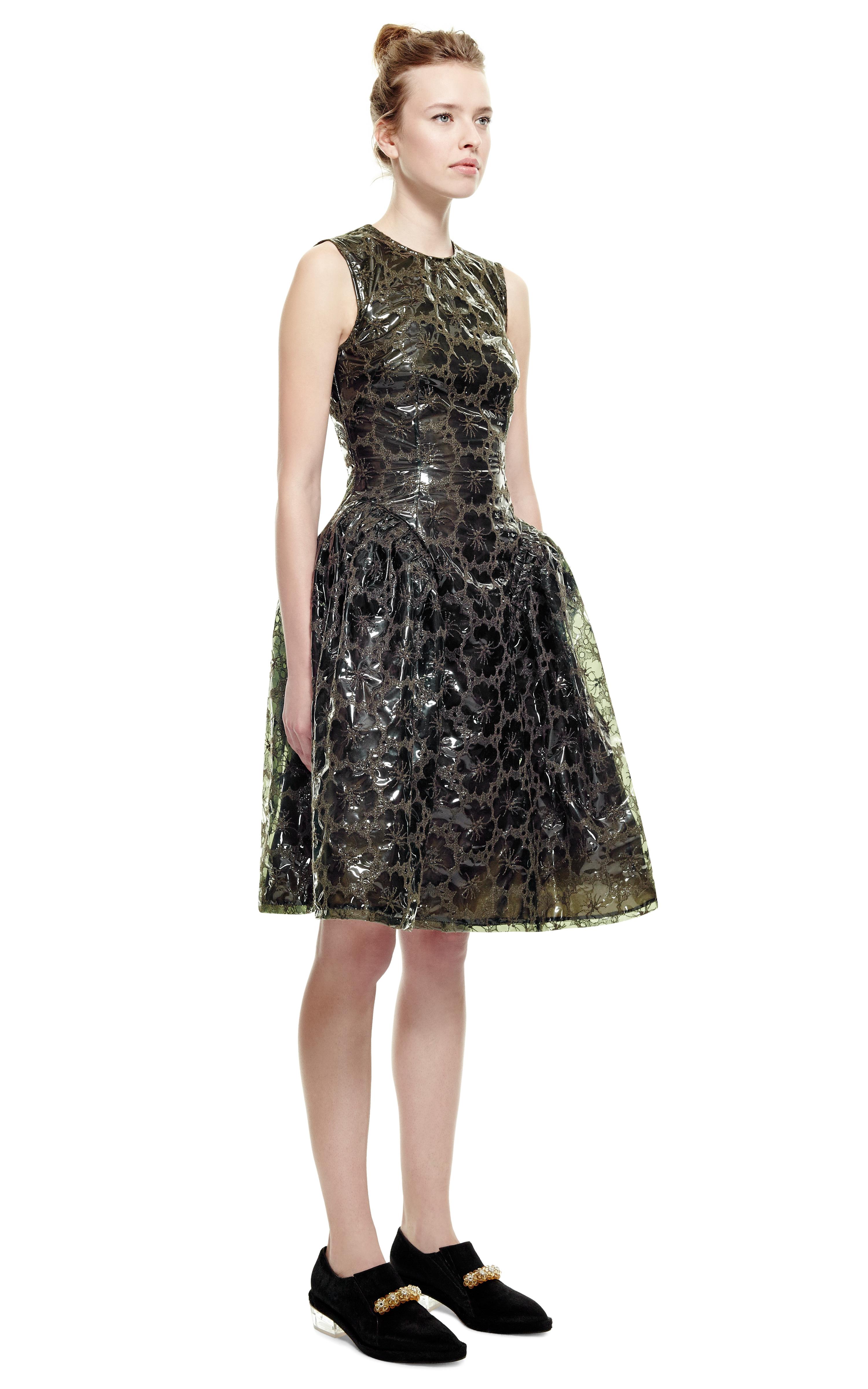 Lyst Simone Rocha Khaki Embroidered Plastic Dress In Natural