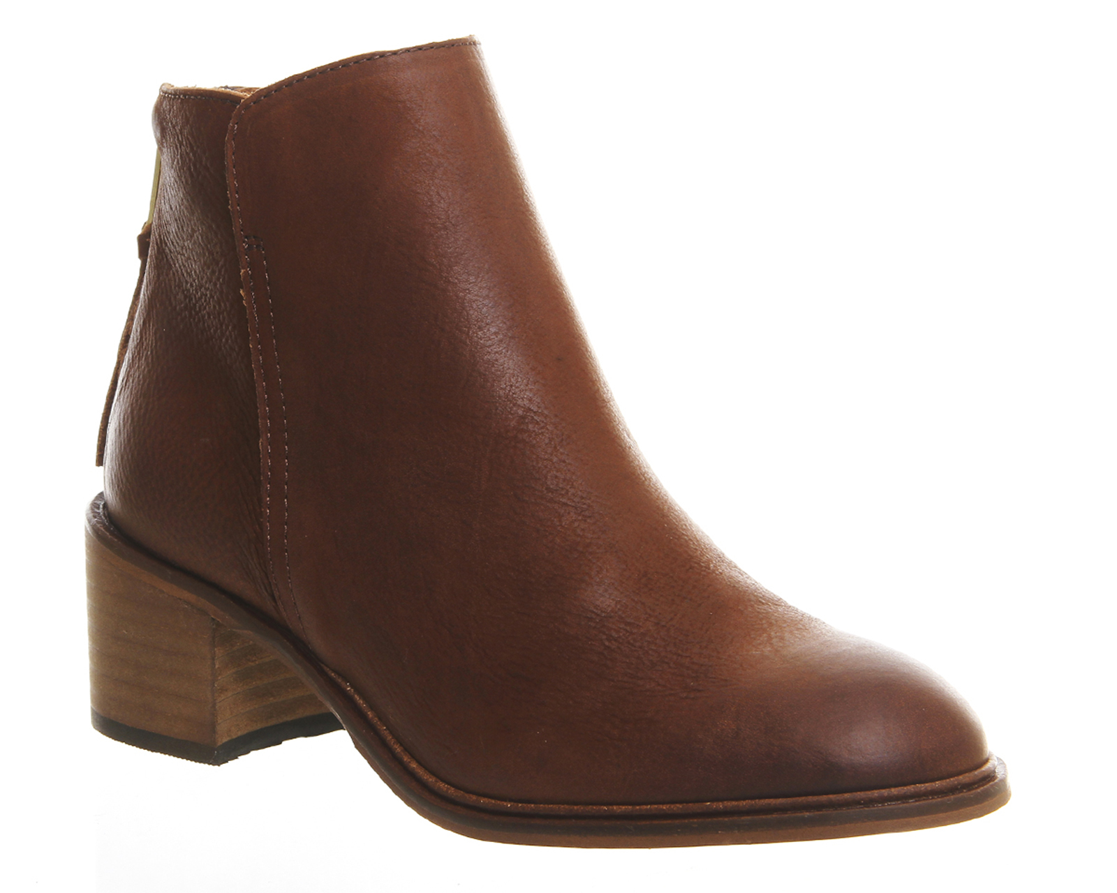 office inventive mid heel ankle boots in brown lyst