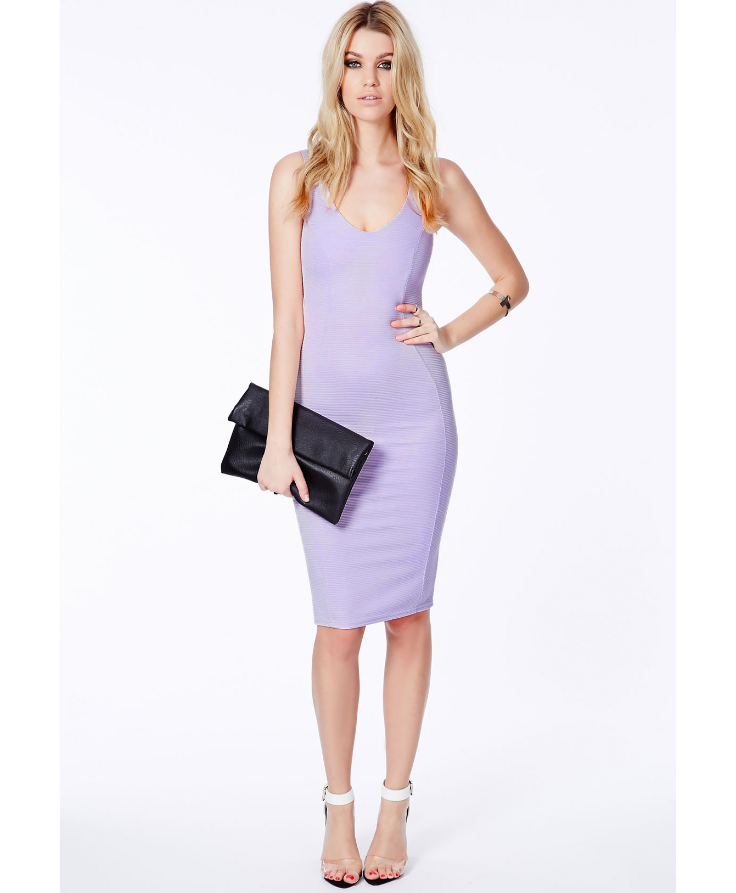Missguided Ryana Ribbed Bodycon Midi Dress In Lilac in ...