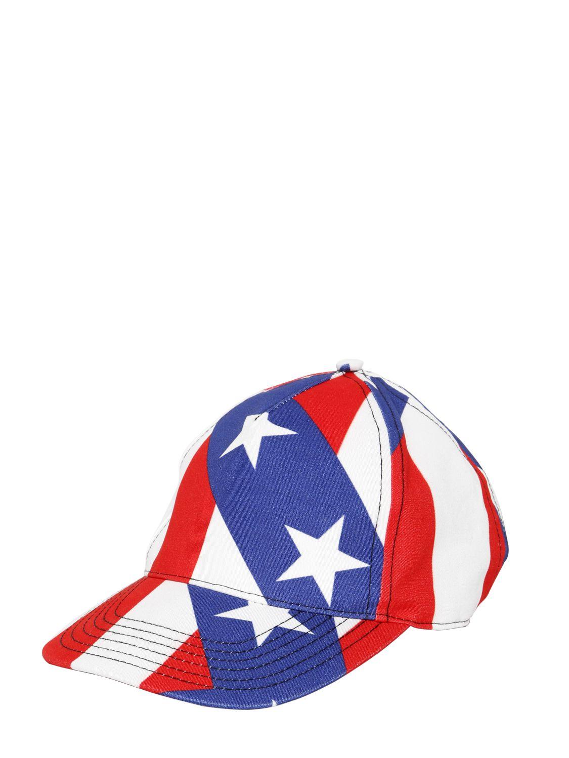 2622e9681e Love Moschino Stars And Stripes Cotton Gabardine Hat in Blue for Men ...