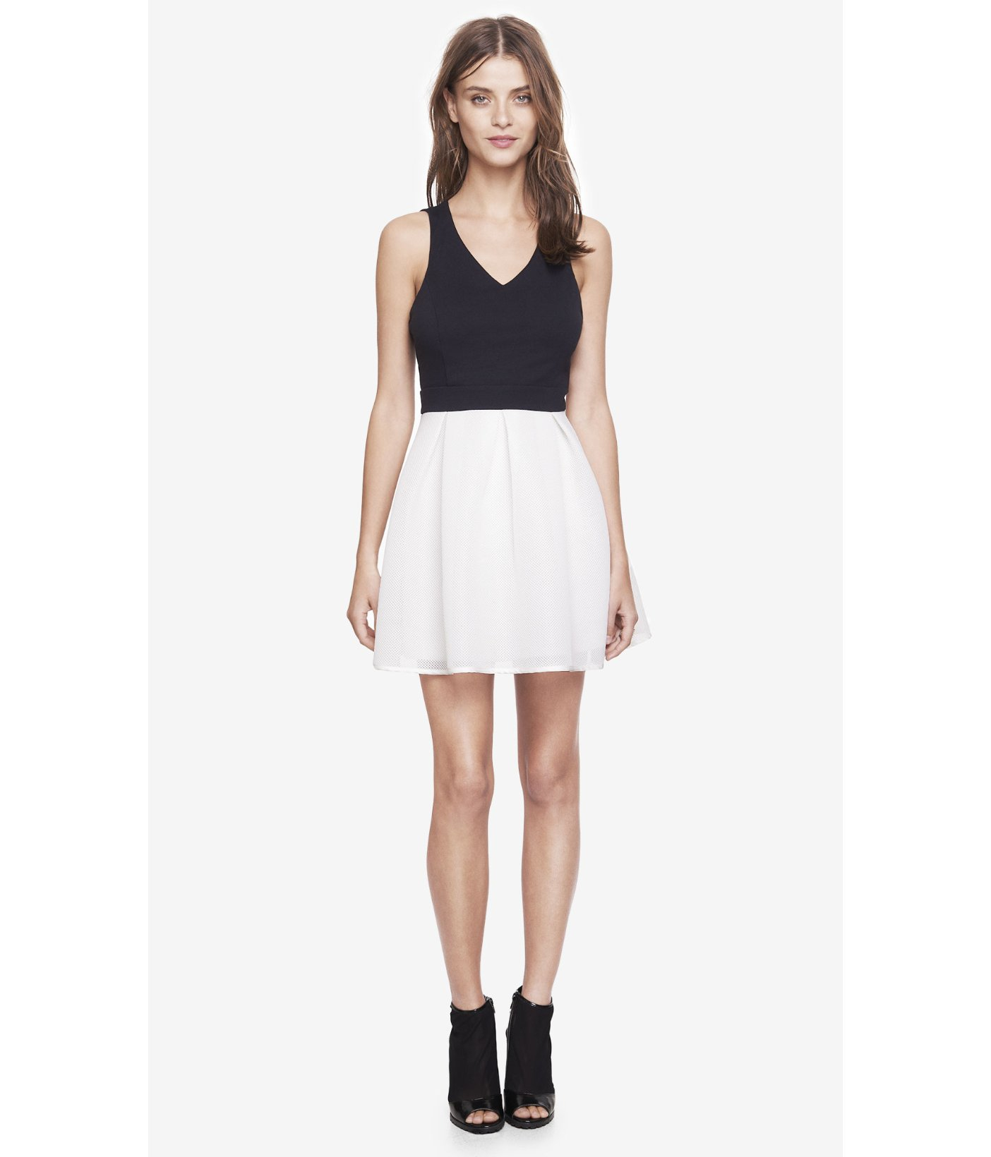 Express black and white fit and flare dress