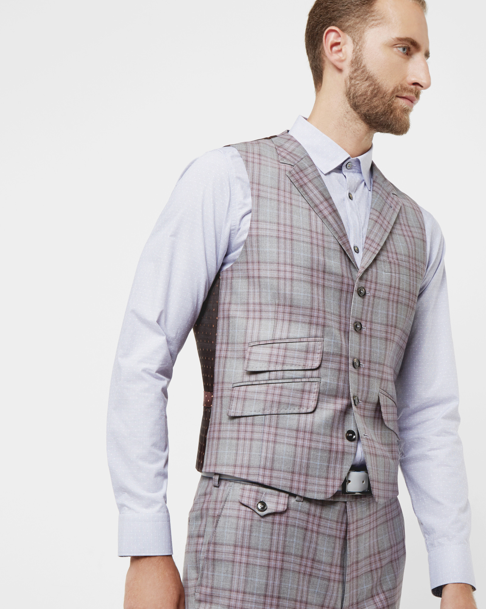 fd58c67a5 Ted Baker Sterling Checked Waistcoat in Gray for Men - Lyst