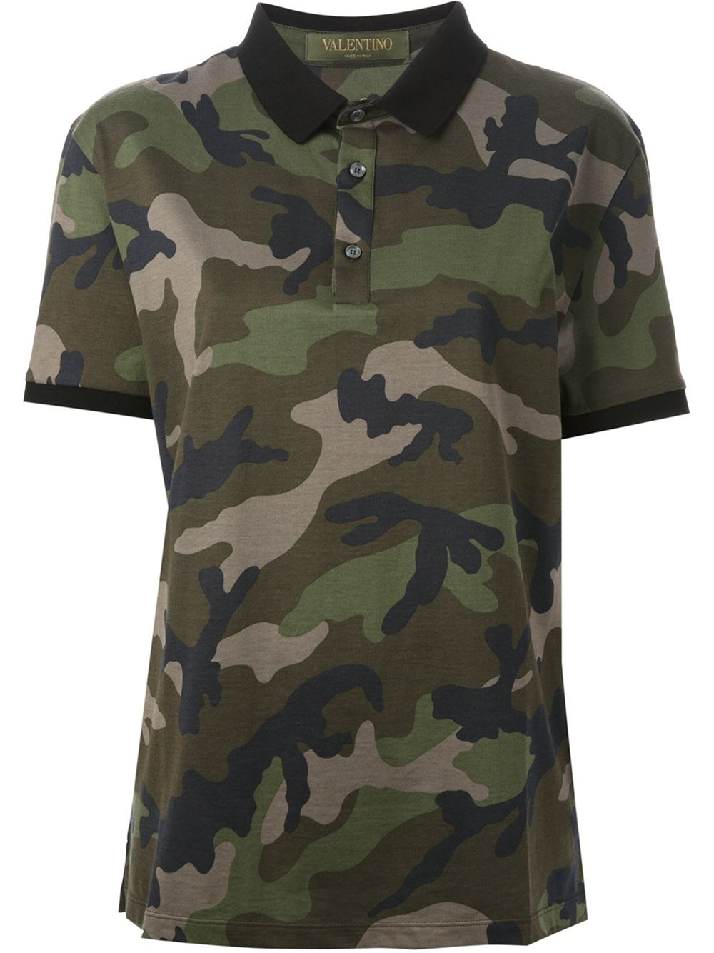 Valentino camouflage polo shirt in green for men lyst for Camo polo shirts for men