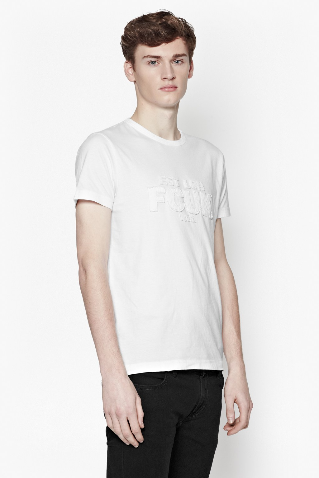 French connection solid fcuk t shirt in white for men lyst for French connection t shirt dress