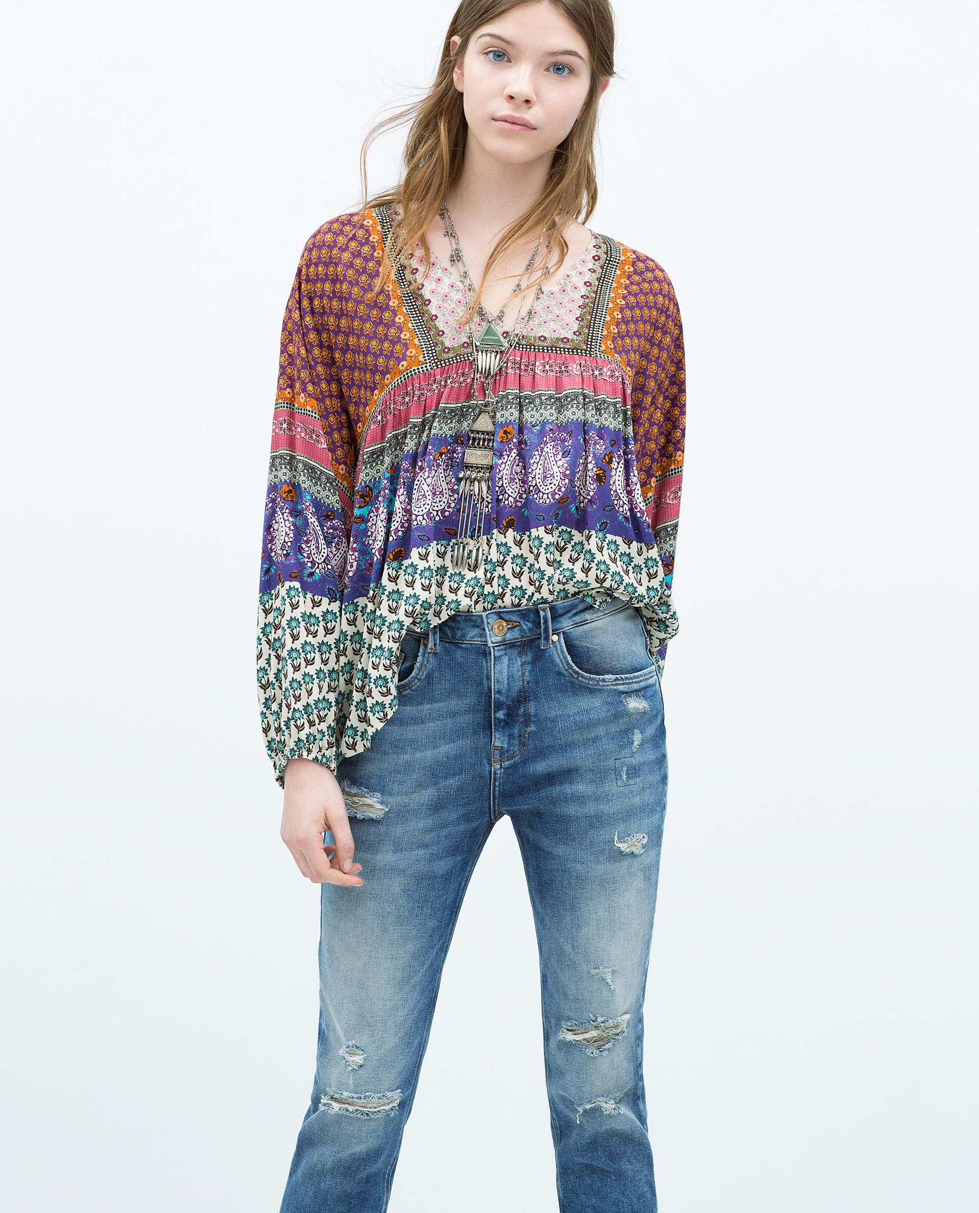 Zara Printed Top In Multicolor (only One)