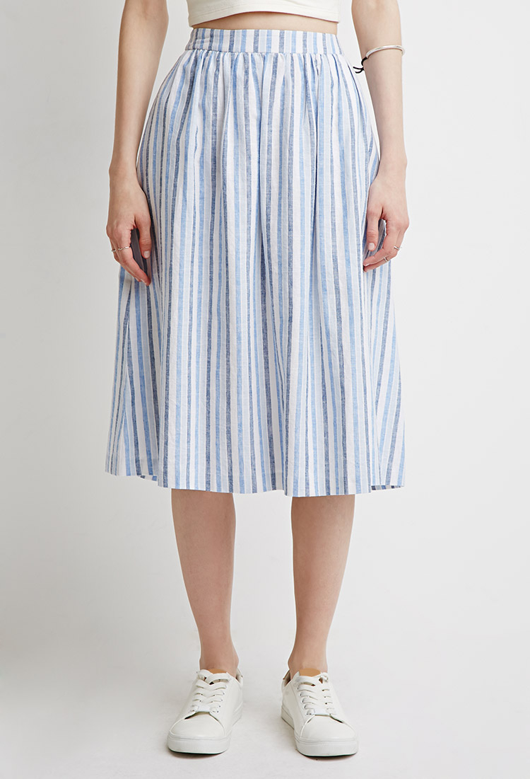 Forever 21 Contemporary Striped A-line Skirt in Blue | Lyst