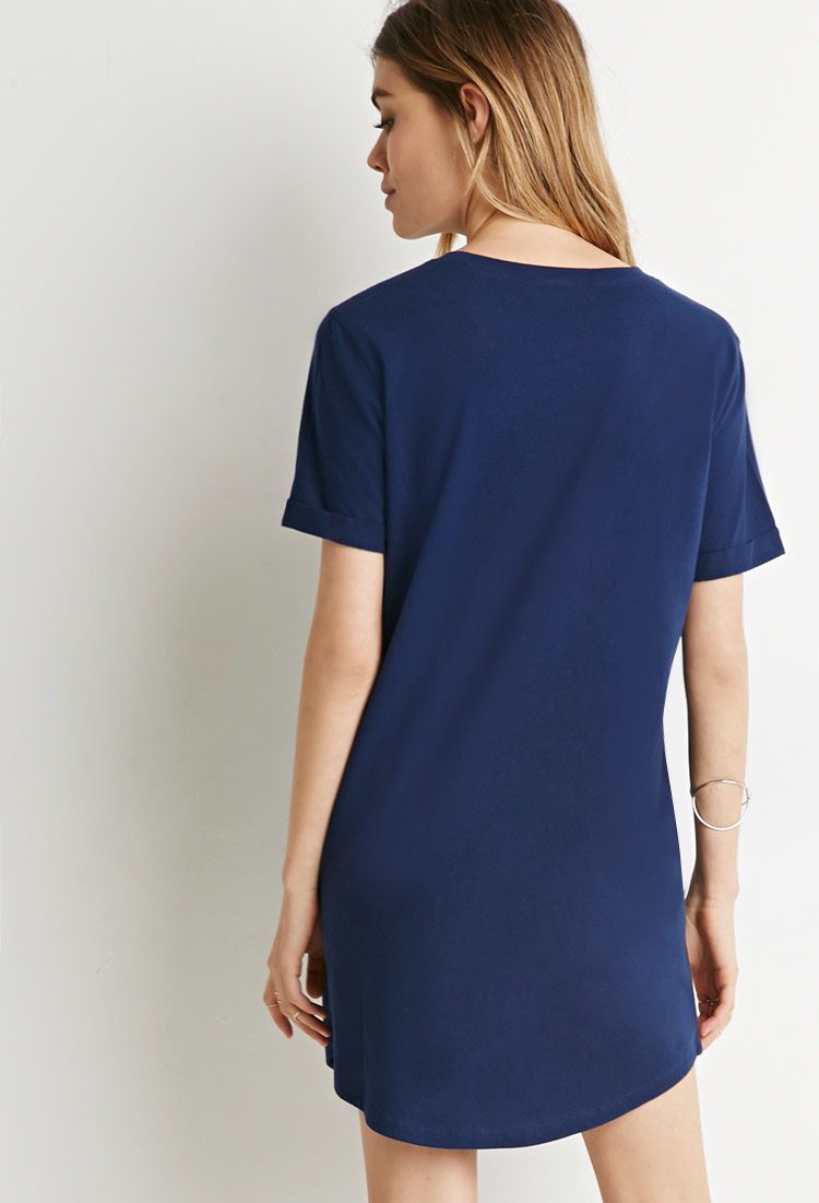 Forever 21 Classic T-shirt Dress in Blue  Lyst
