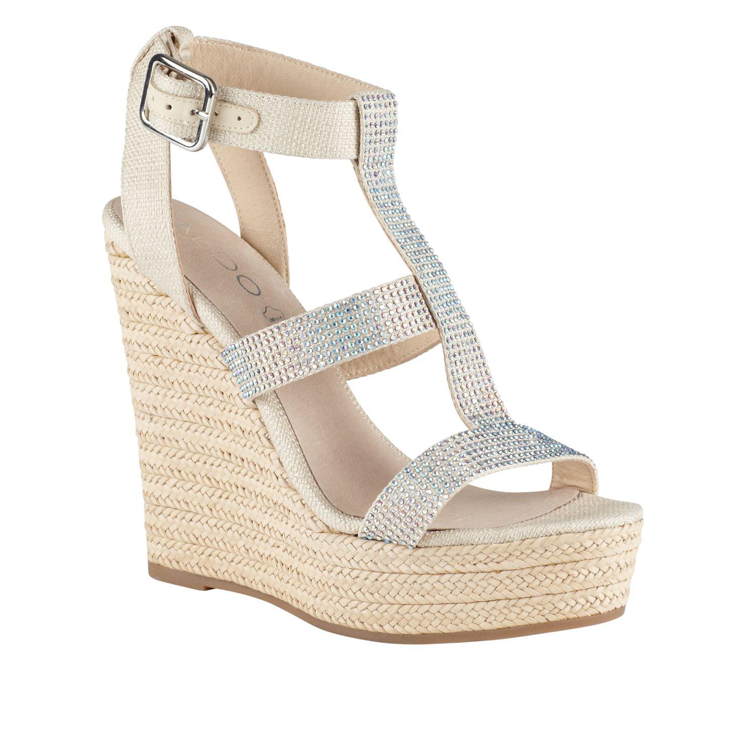 aldo tilissa wedge espadrille sandals in white
