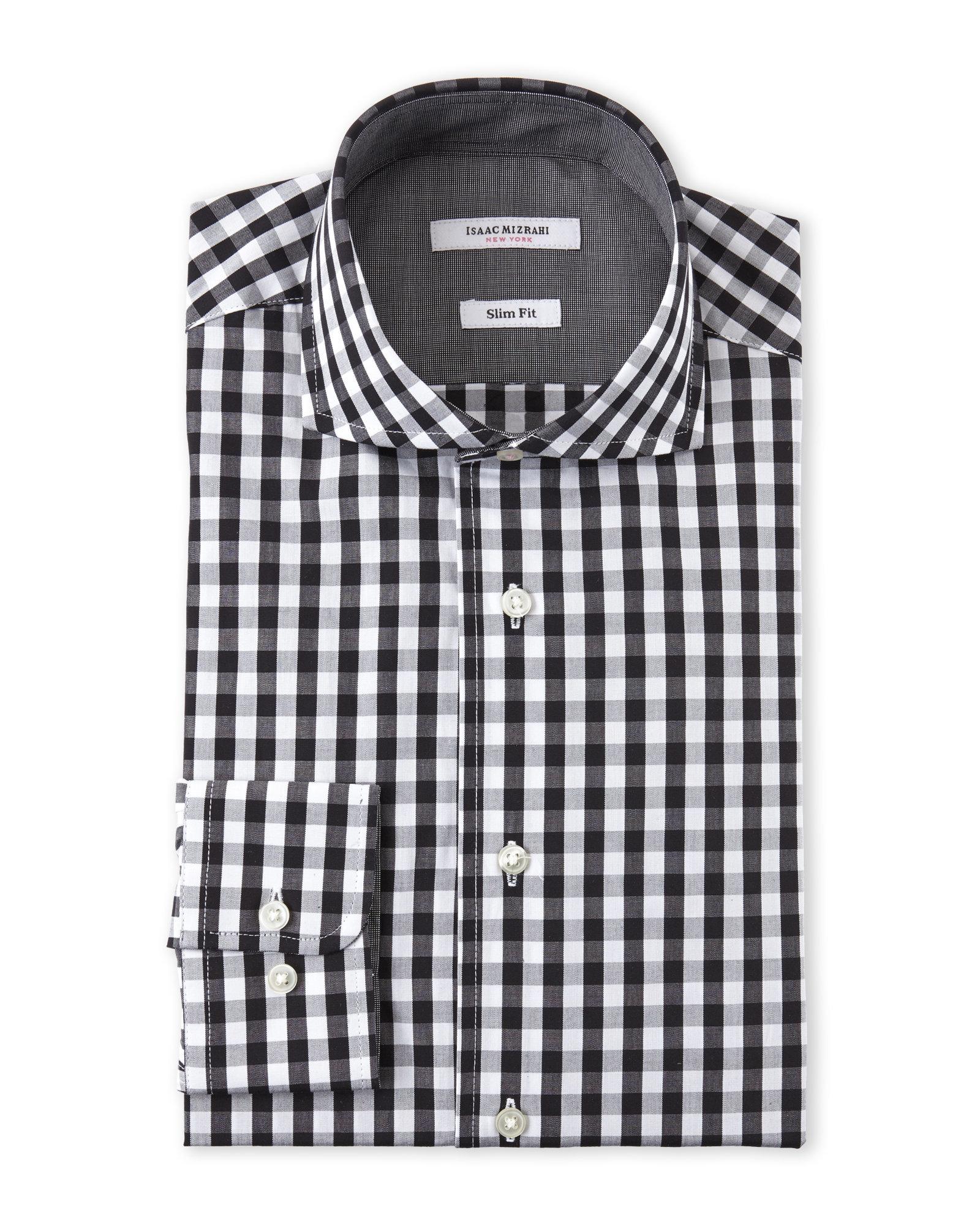 Mens Gingham Check Dress Shirt