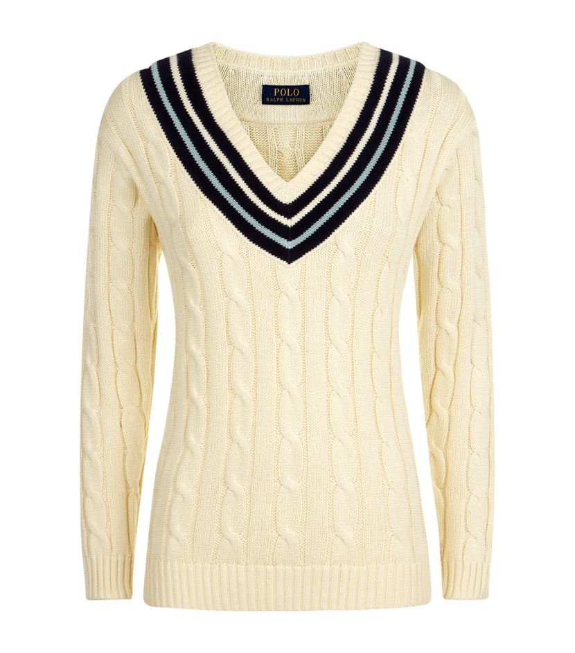 b3c8206c308 Polo Ralph Lauren Cara Cable Knit Cricket Sweater in Natural - Lyst