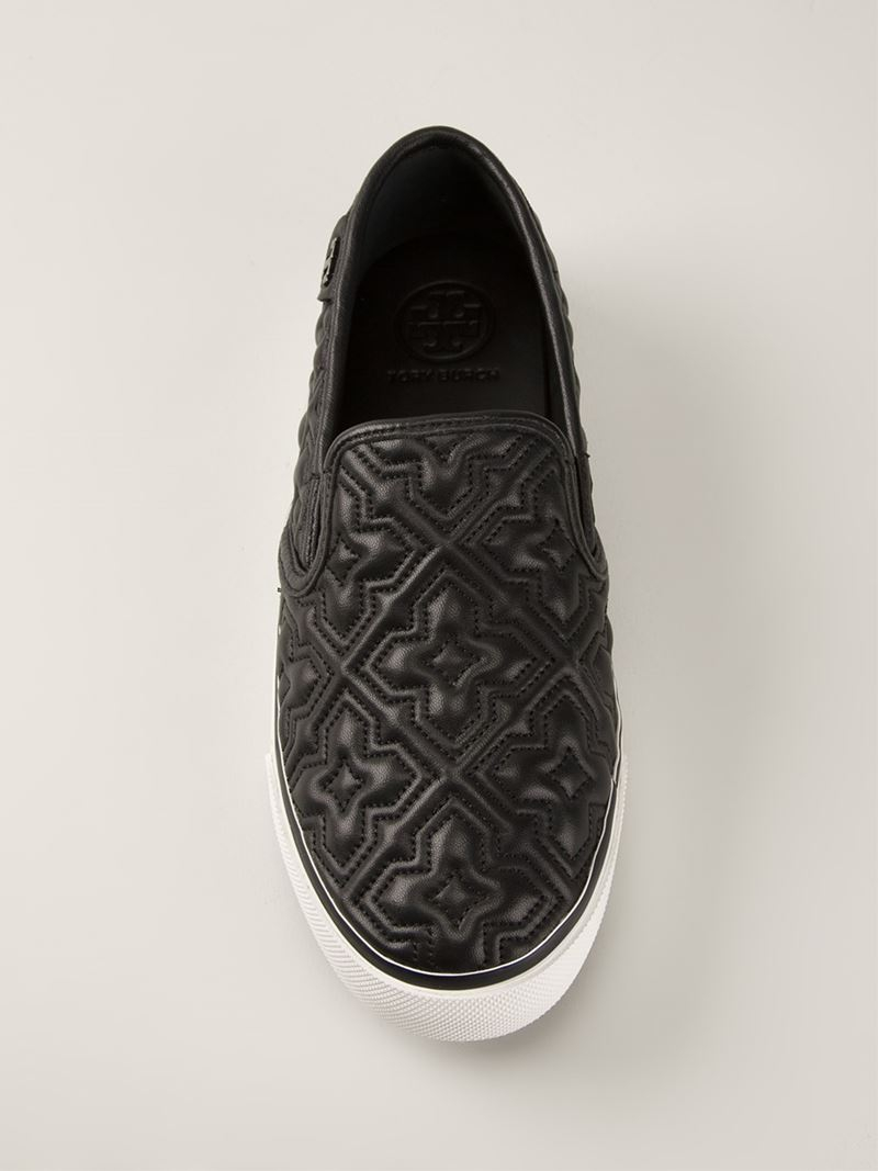22861044e4bd Lyst - Tory Burch  Jesse 2  Quilted Slip-On Sneakers in Black